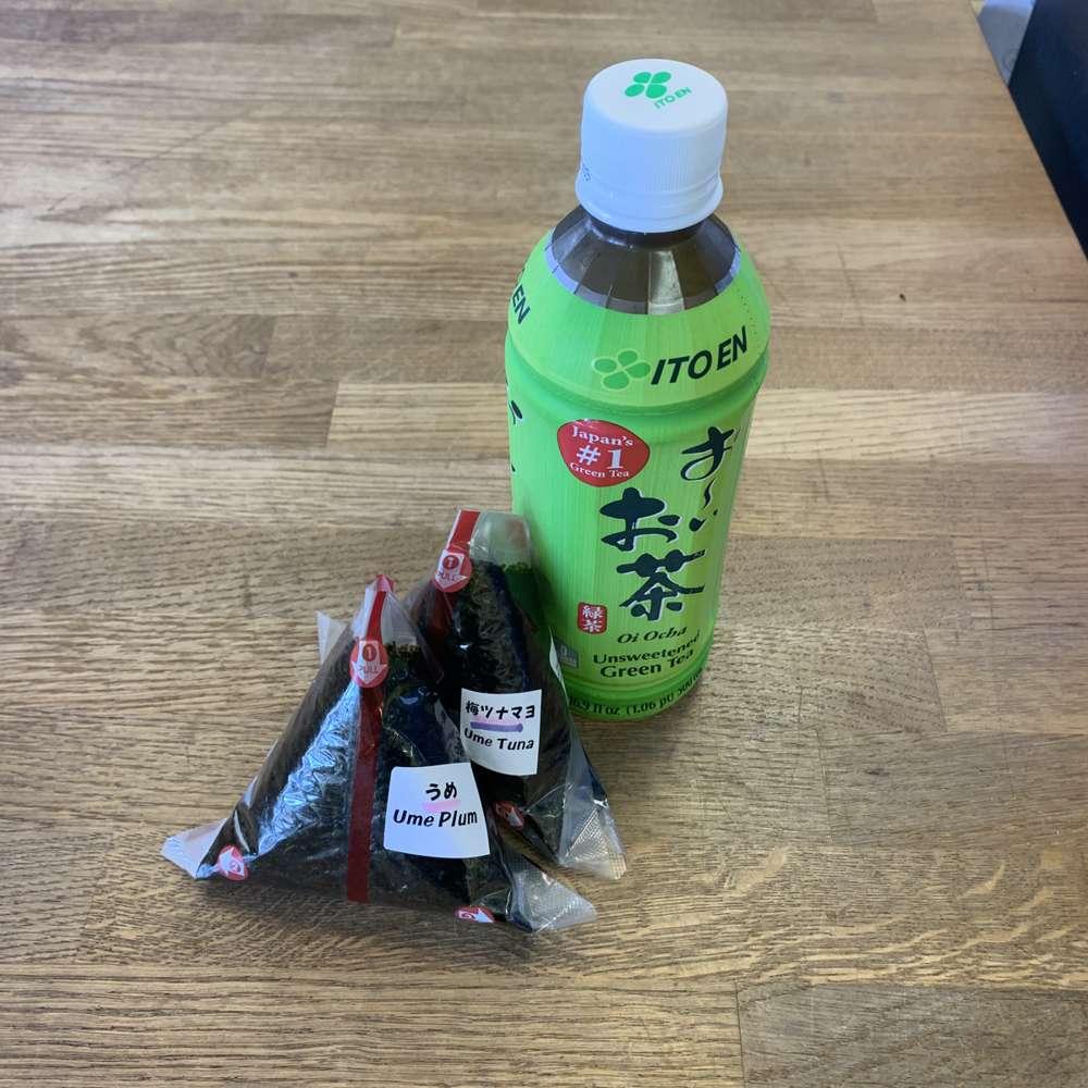 Onigiri and Green Tea
