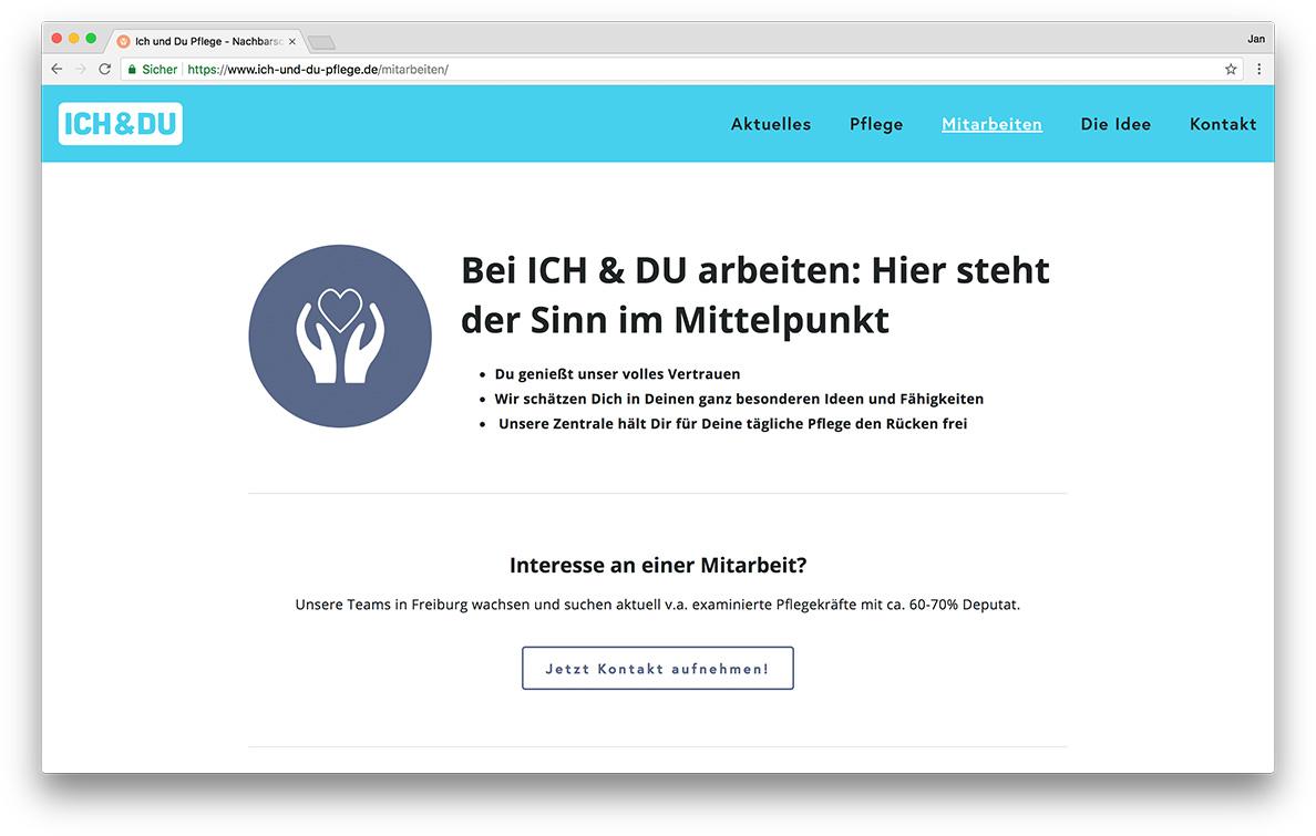 KreativBomber Onlineagentur Freiburg - ICH & DU Pflege Freiburg Mitarbeiten
