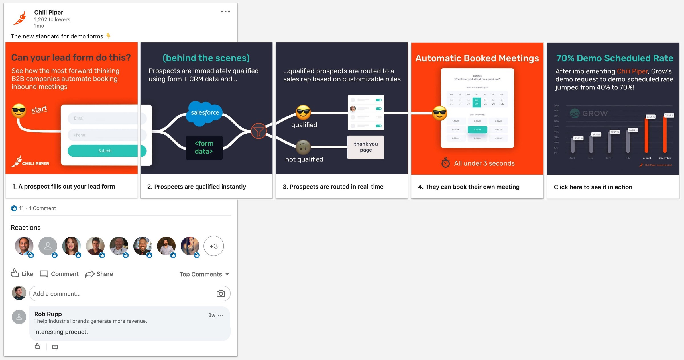 New LinkedIn carousel ad to increase engagement and show how Concierge works.