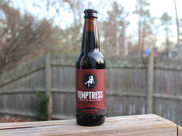 Temptress, a Imperial Milk Stout brewed by Lakewood Brewing Company