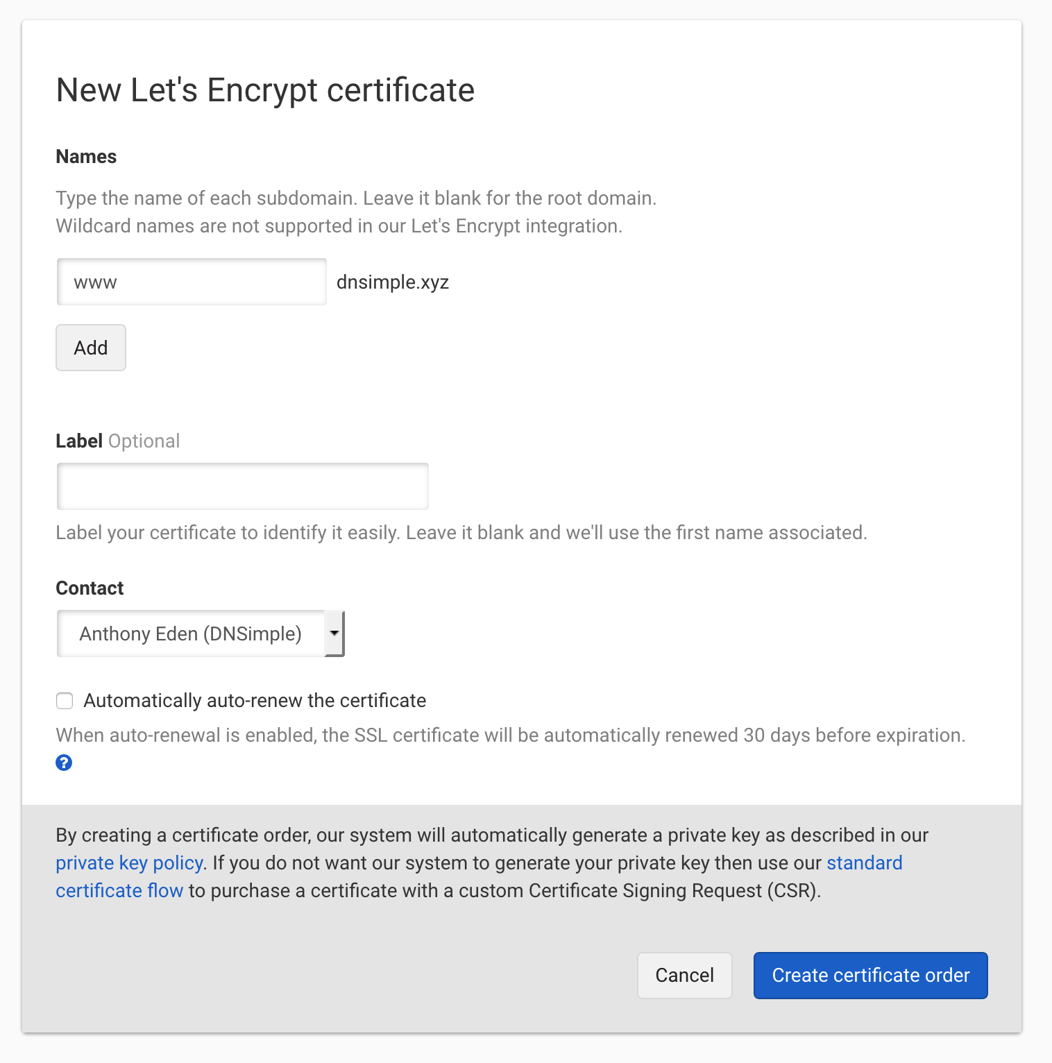 Let's Encrypt with SAN