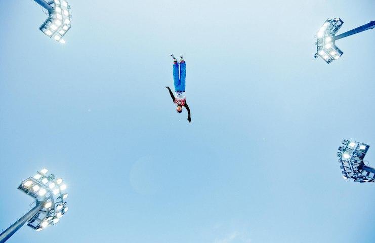 Olympische sporters in de lucht