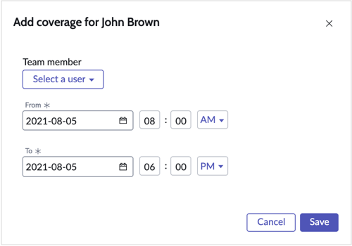 Add coverage form to create a partial or full day coverage for a shift.
