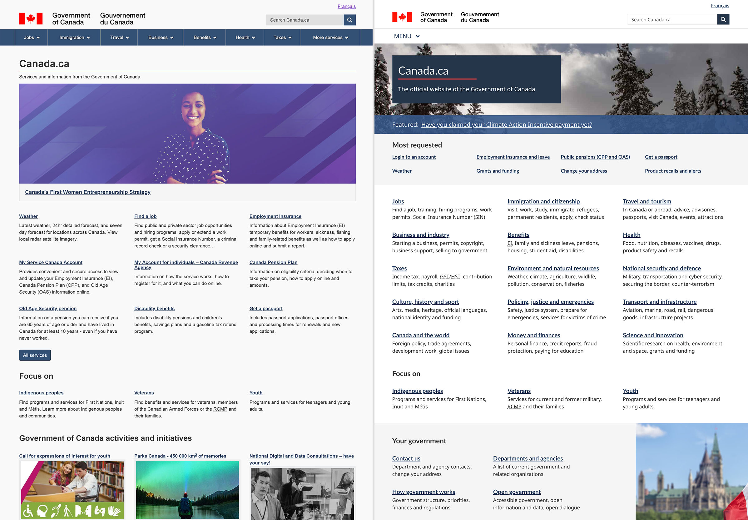 Before and after image of the Canada.ca homepage