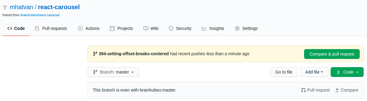 GitHub compare and pull request