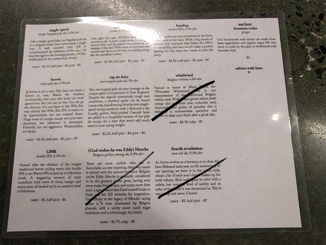 A menu of beers served in the taproom