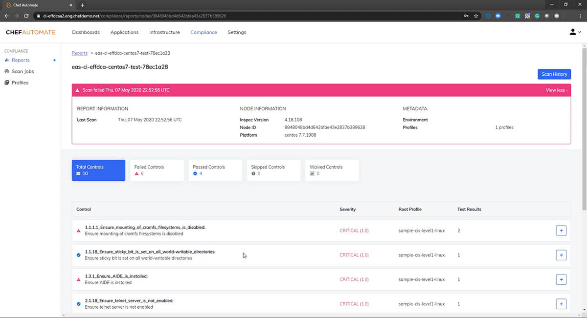 Screenshot of Chef Automate dashboard.