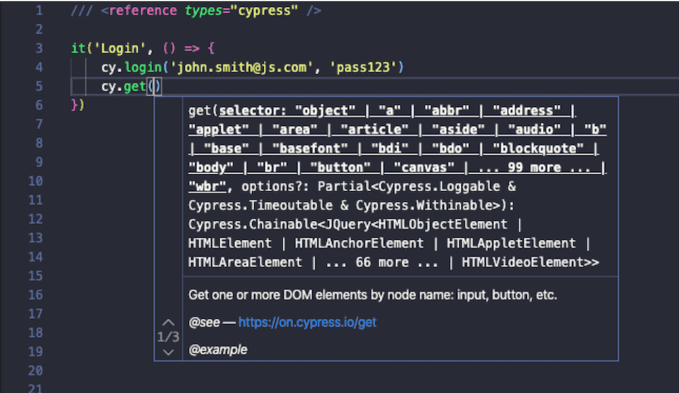 Cypress - enter the attributes for your command, IntelliSense suggests what type and how many should be. #max500#
