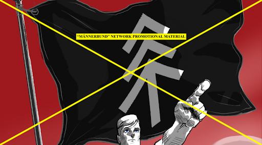 Männerbund propaganda reminiscent of original Nazi party propaganda, featuring the stacked Tiwaz rune.