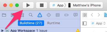 Xcode build button