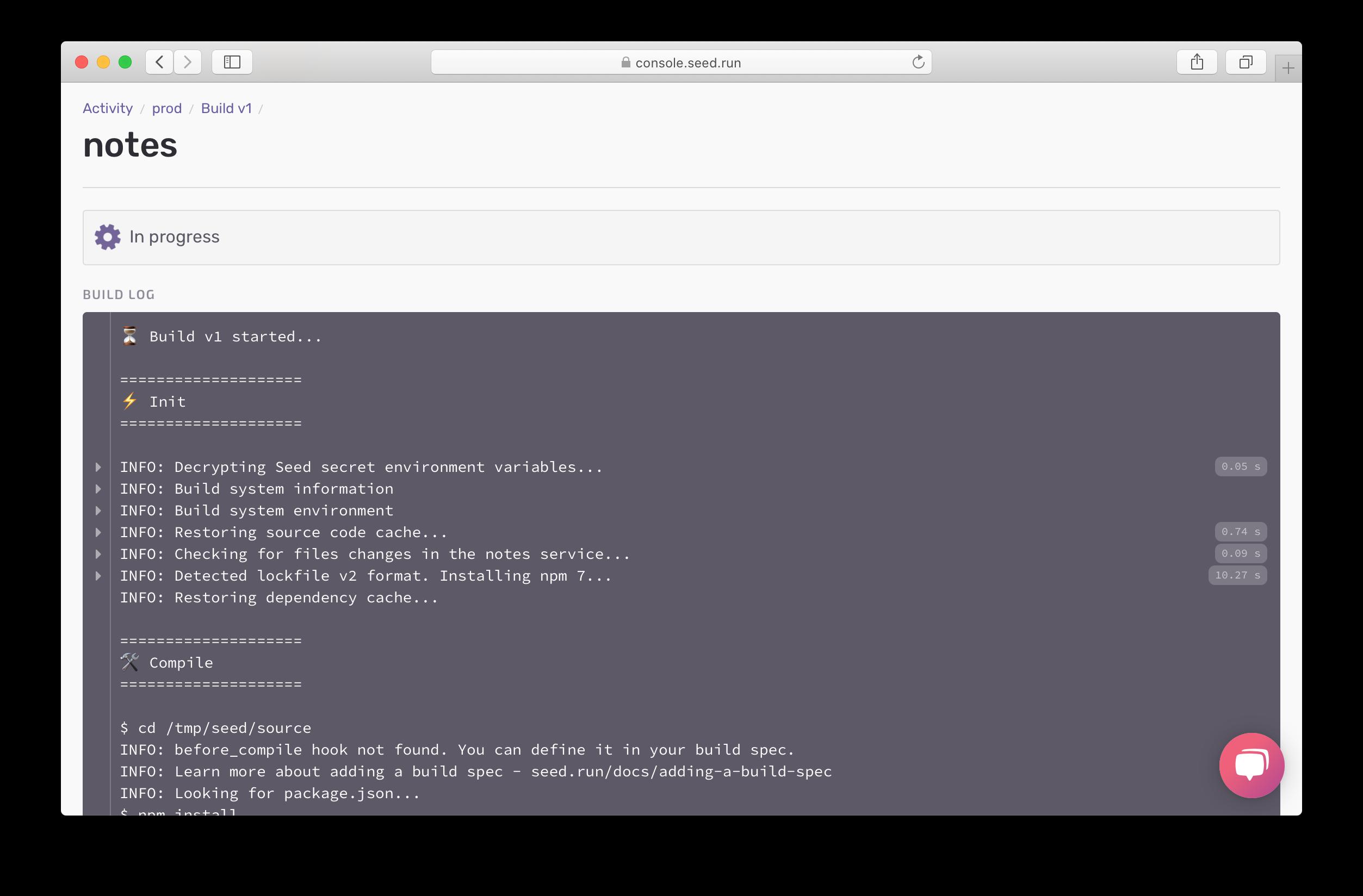 Prod build logs in progress