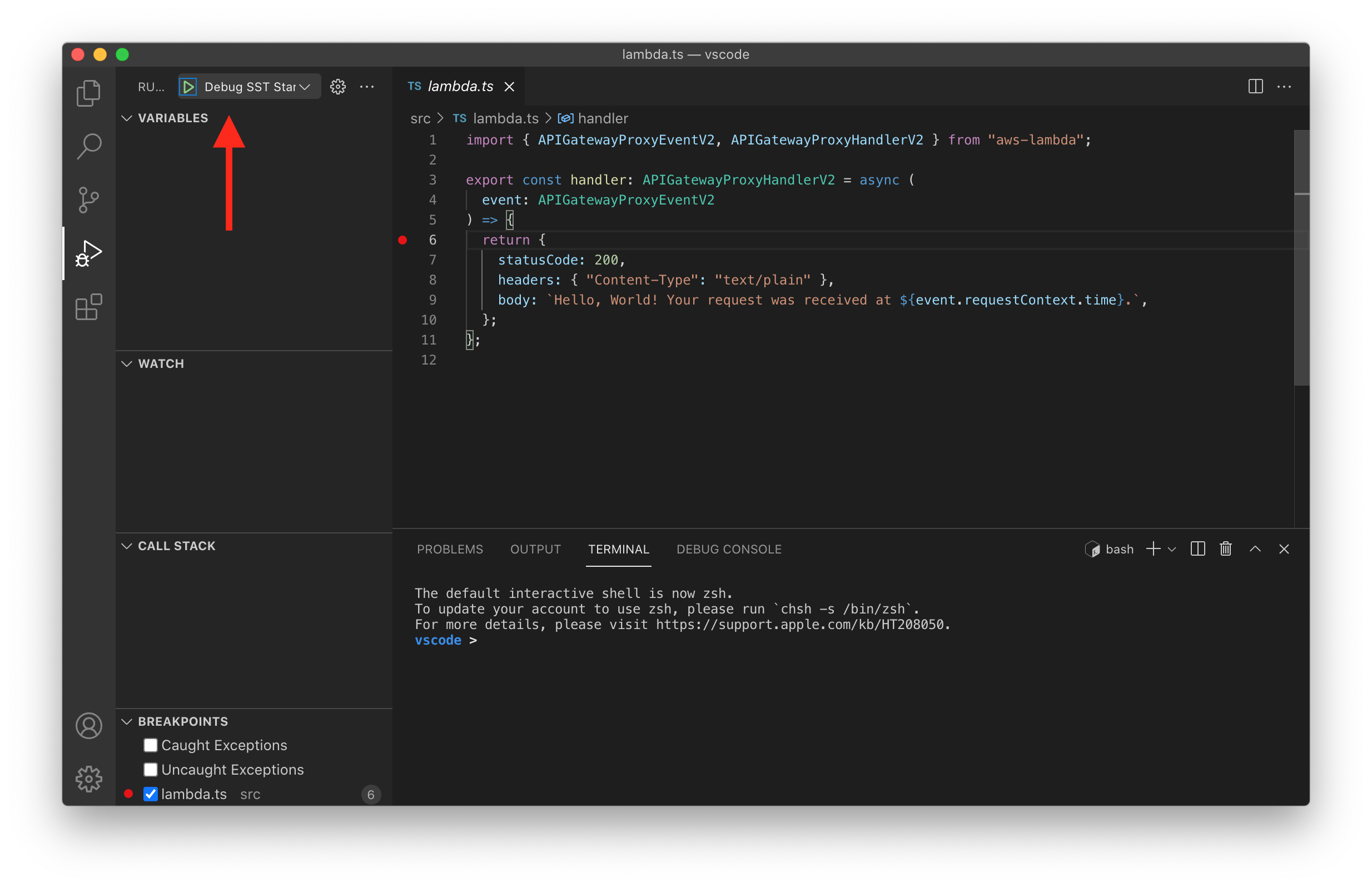 Set Lambda function breakpoint in VS Code