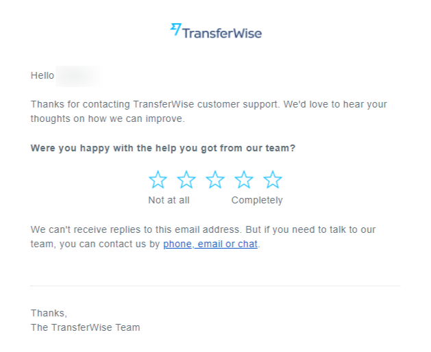 Example of a CSAT Survey from Transferwise