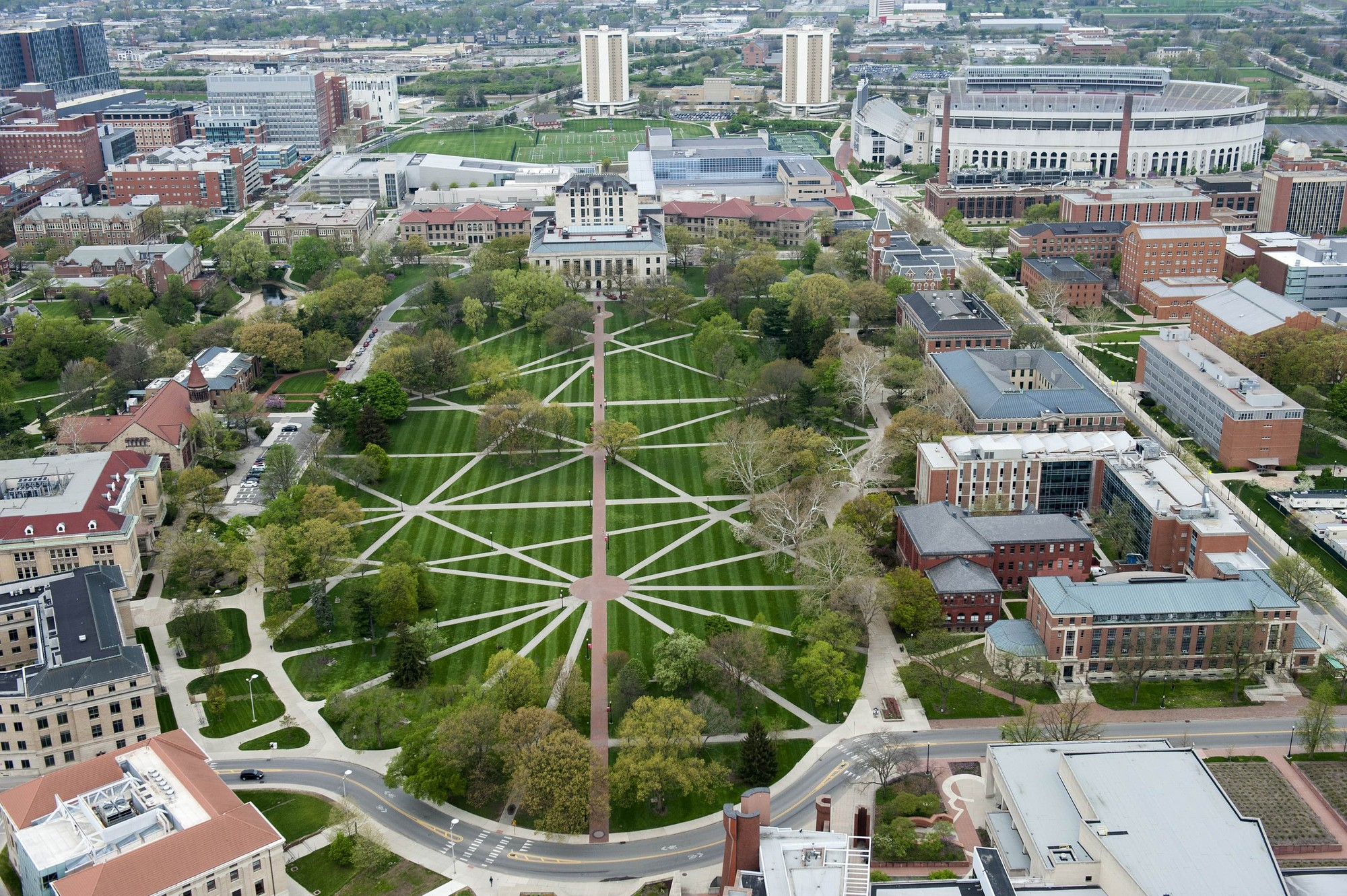 Aerial view of The Ohio State University campus