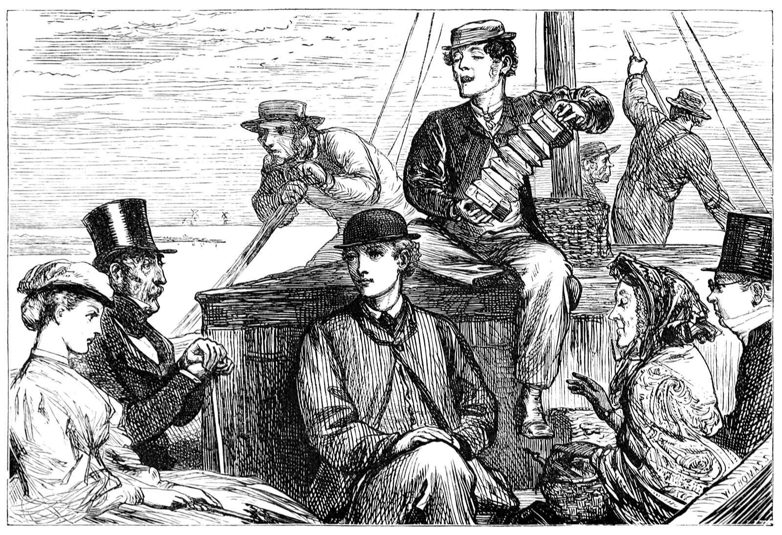 An illustration of a group of people playing music