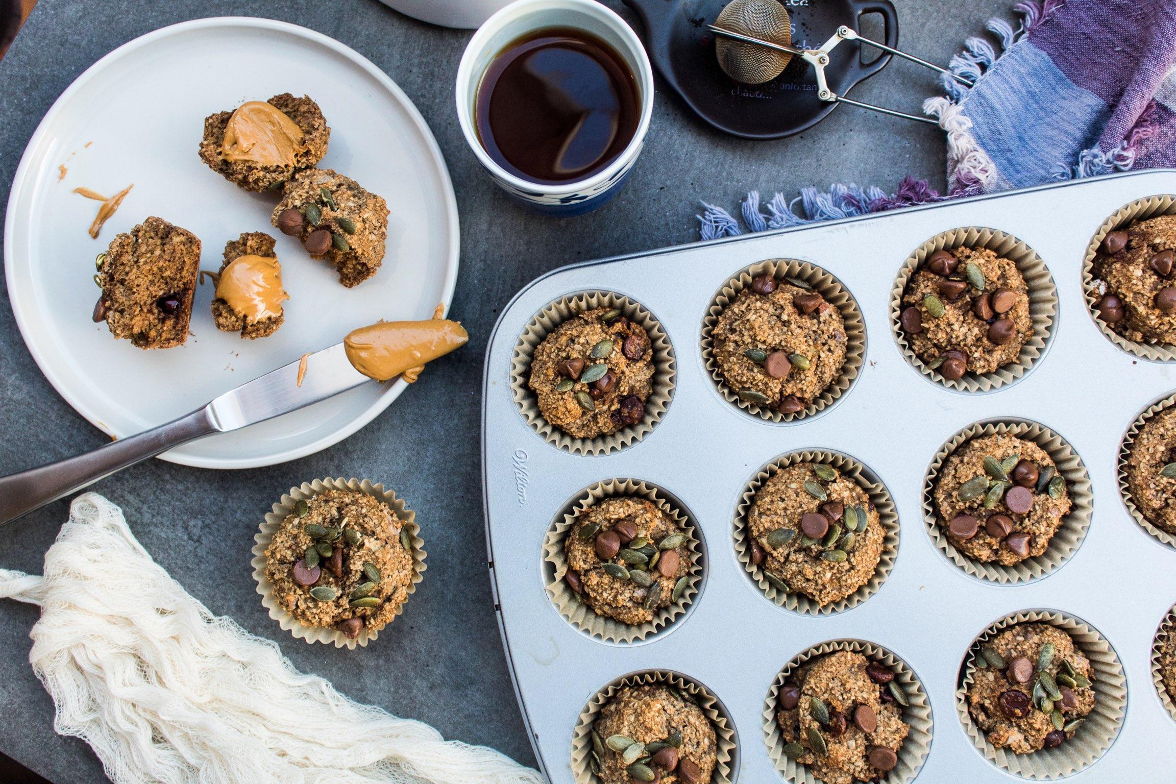Oatflour chocolate chip banana nut muffins