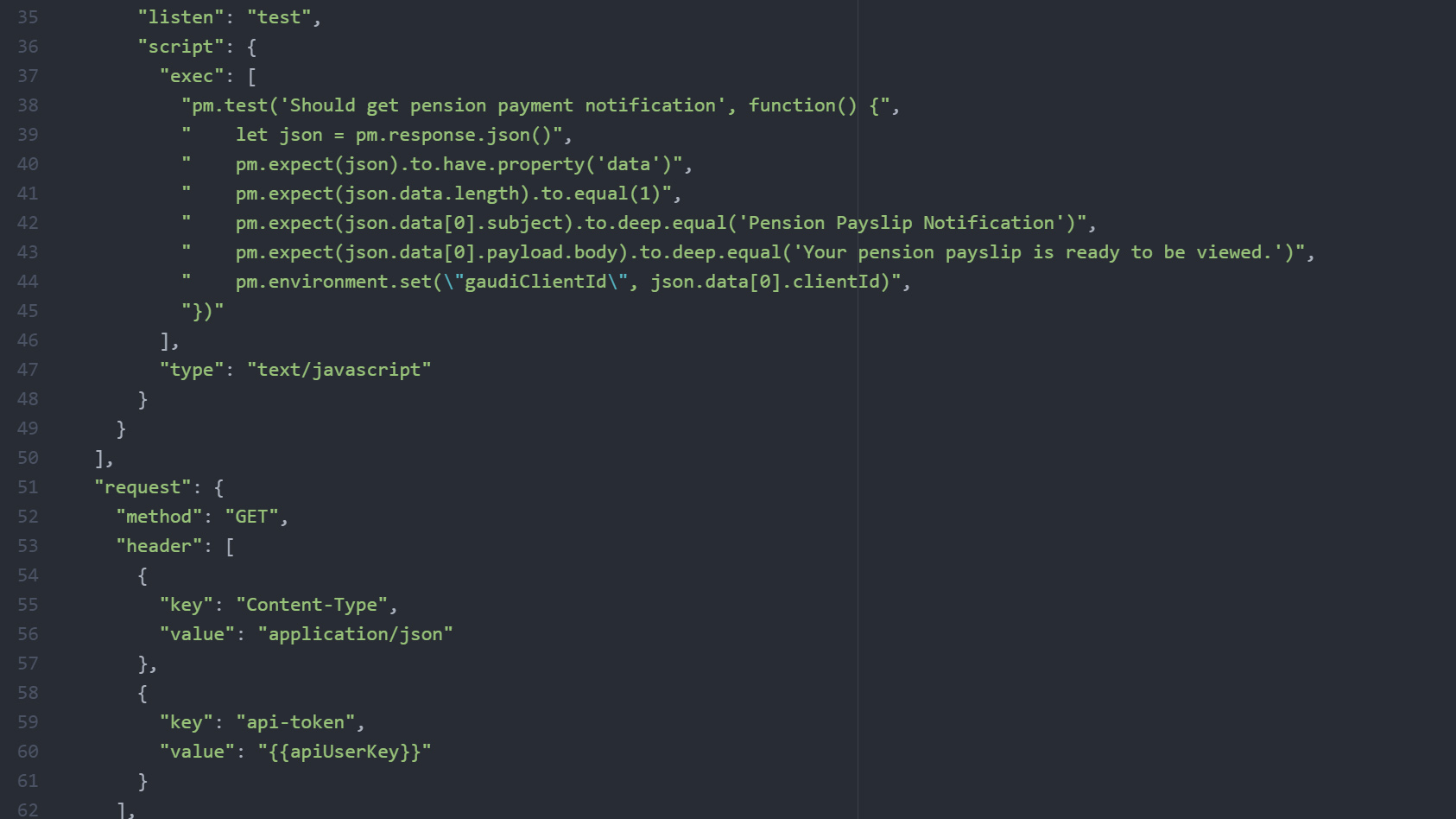 PR for adding a new test with old stack (Postman)