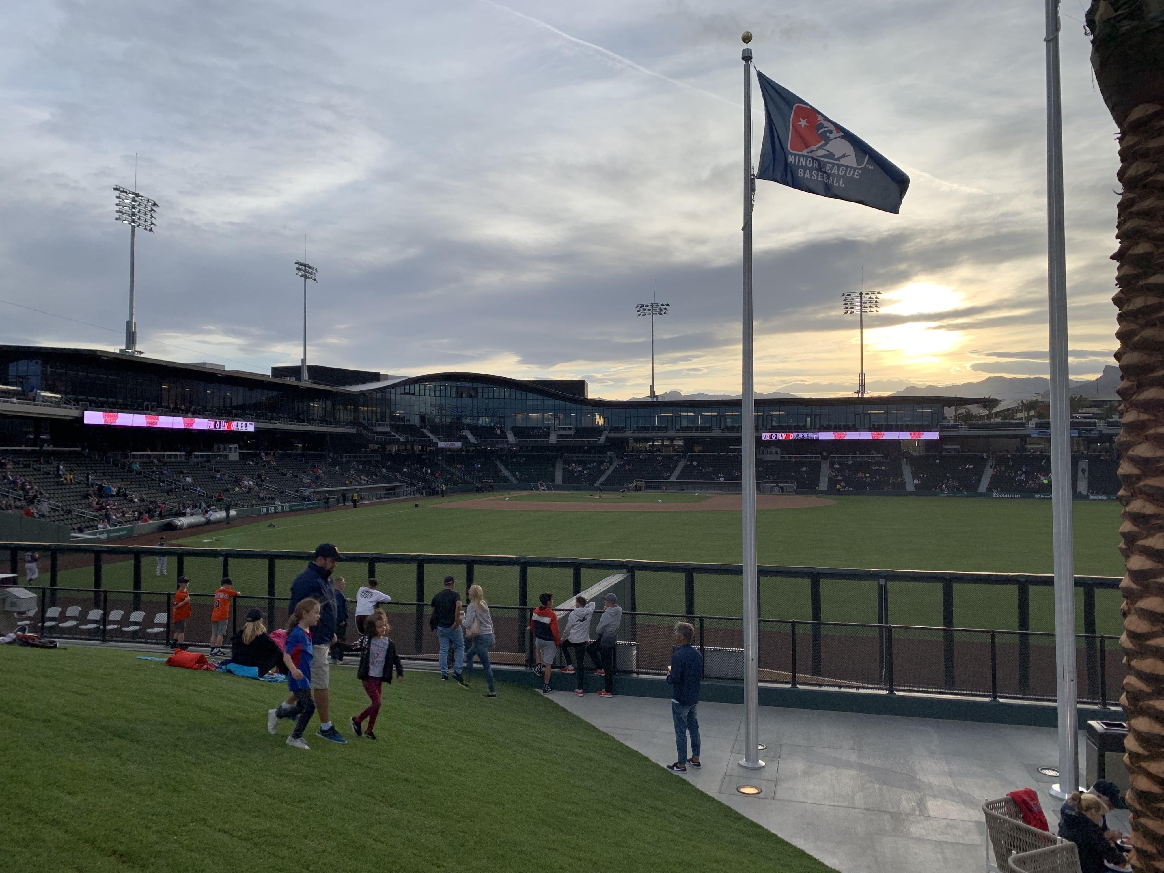 The beautiful sunset at Las Vegas Ballpark.