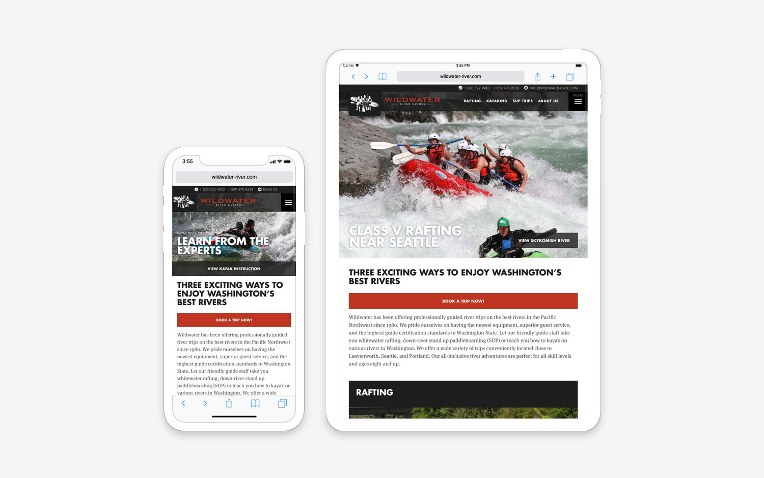 Wildwater River website - mobile/tablet view