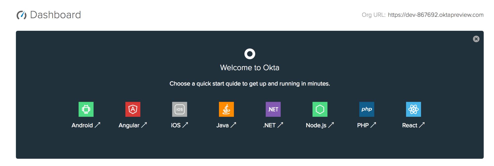 Okta dashboard org URL