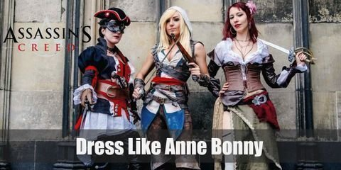 Anne Bonny's typical outfit is very piratical as well as colonial-inspired. She wears a white blouse with pleats around the chest and a dark green lace-up corset that cover her from her waist to her shoulders
