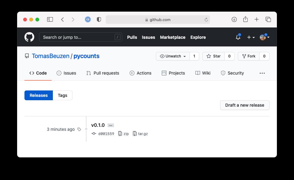 Tag of v0.1.0 of `pycounts` on GitHub.