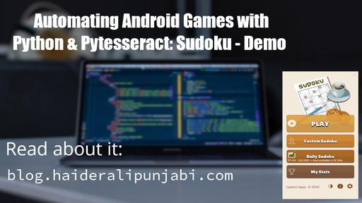 Automating Android Games with Python & Pytesseract: Sudoku