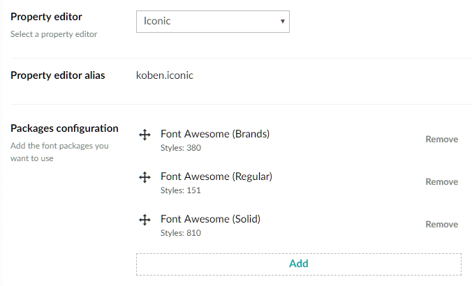 Iconic configuration for Font Awesome 5