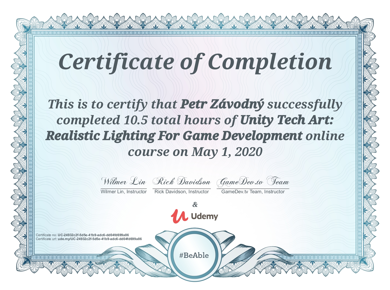 certificate Unity Tech Art: Realistic Lighting For Game Development
