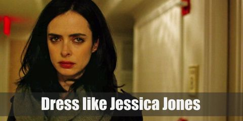 Jessica Jones wears a casual and dark colored outfit, with a slight bit of edgy street style to it. Her favorite of her clothes would probably be her leather jacket.