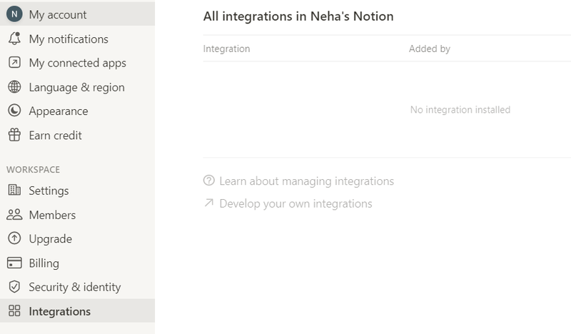Develop own integration in Notion