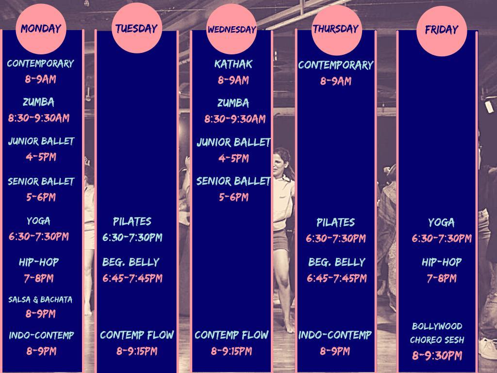 Weekday class schedule