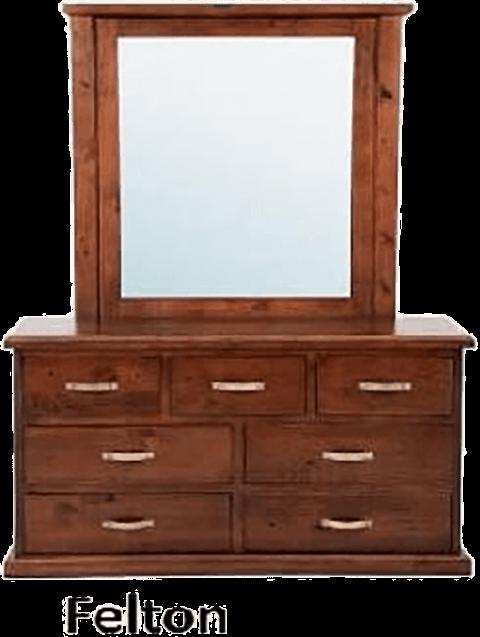 7 drawer 'Felton' dark pine dresser with mirror