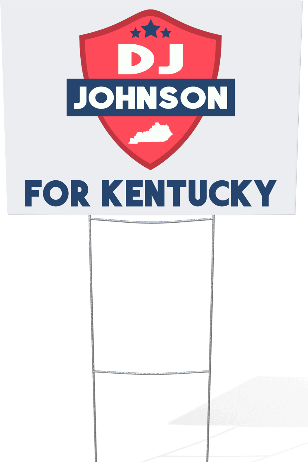 DJ Johnson yard sign placed near a sidewalk