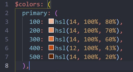Screenshot of my colours from VS Code. Base color is set to hsl(12, 100%, 43%). From there, the lightness goes up in steps of 10 to 20%.
