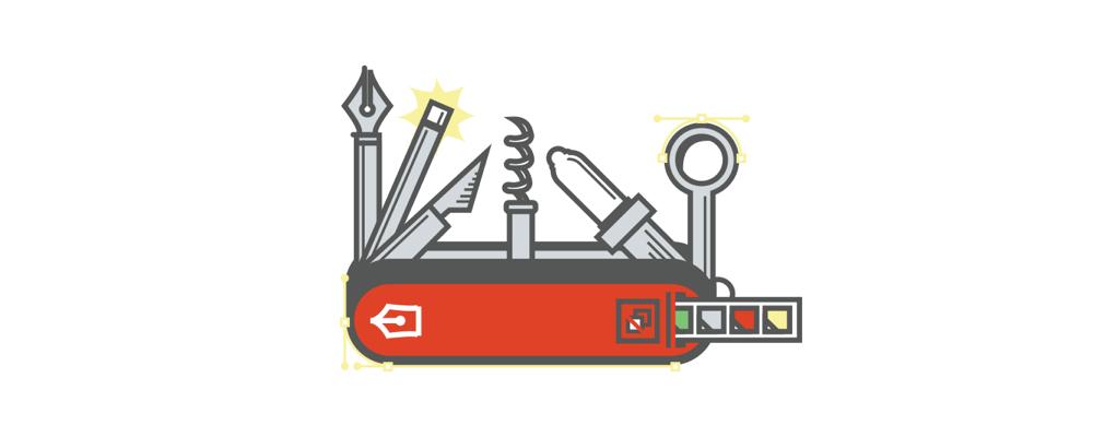 design swiss army knife. Illustration.