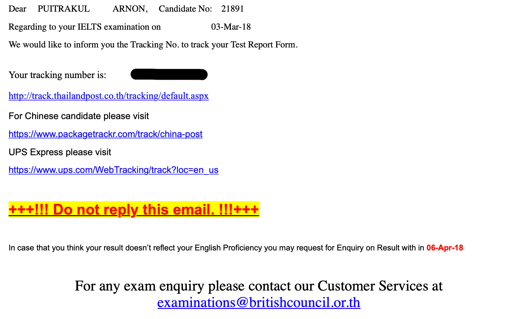 IELTS Mail from British Council