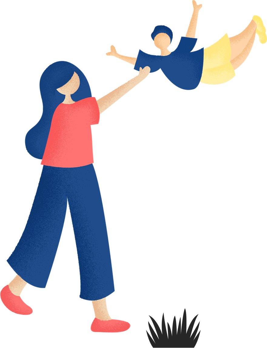 Illustration of woman with her child