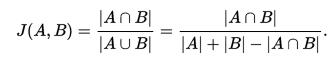 Equation describing Jaccard Coefficient