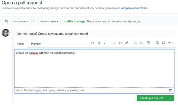 A new pull request on GitHub