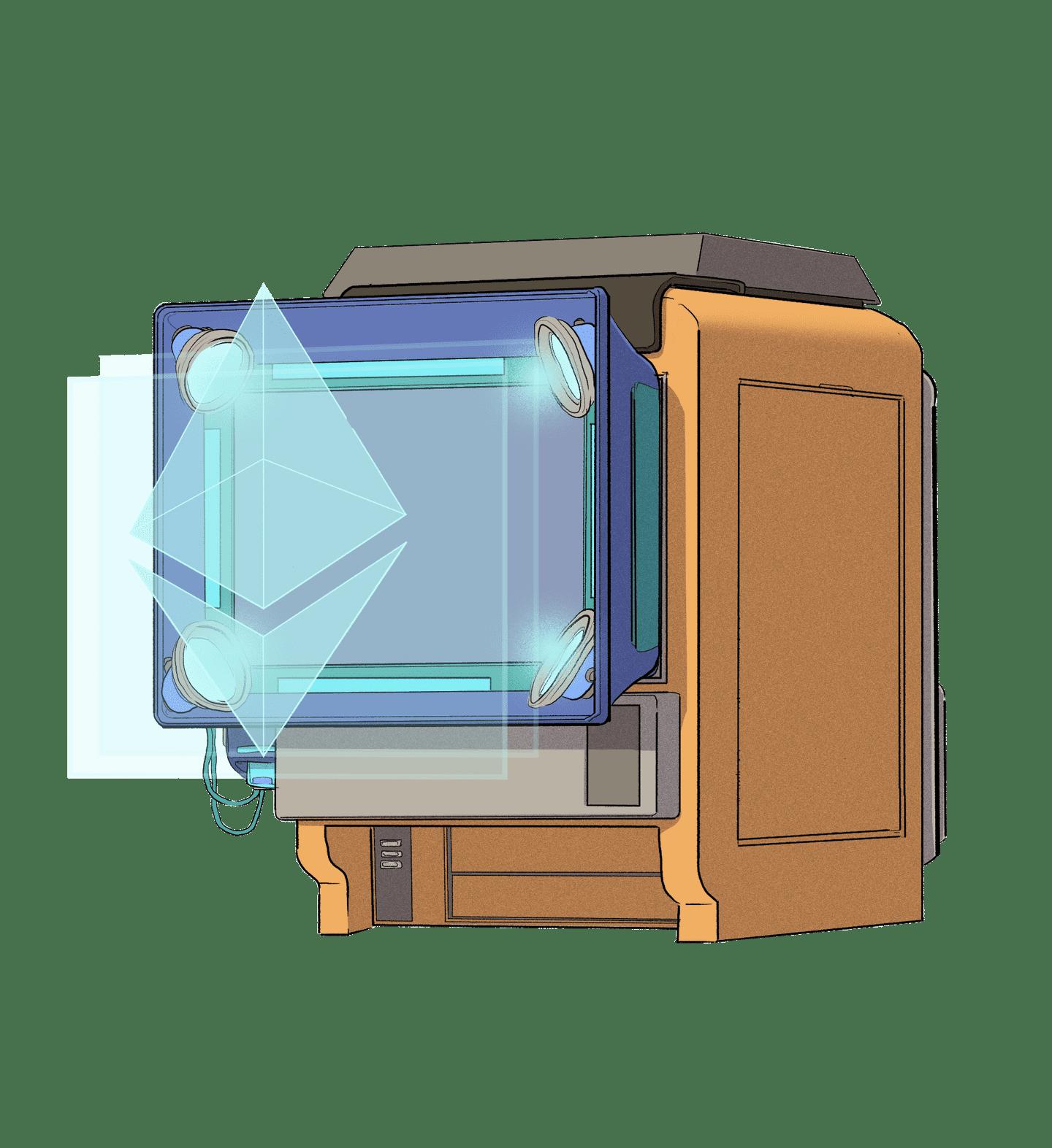 An Eth logo being displayed via hologram.