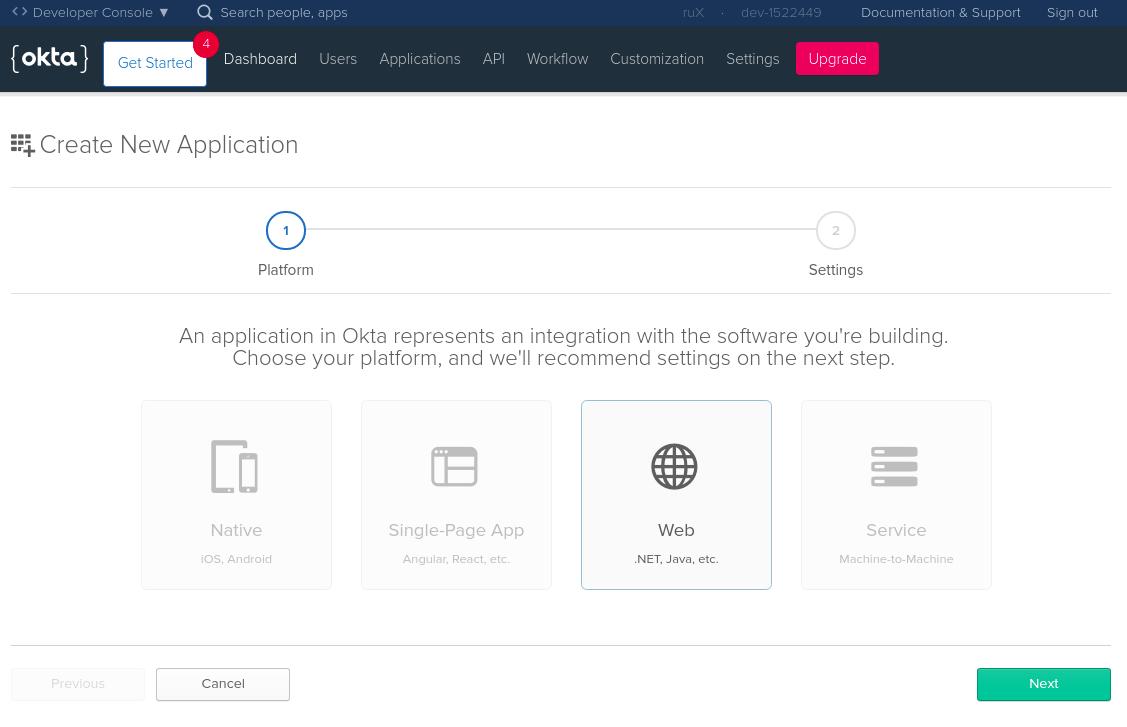 Create a new application screen on Okta website