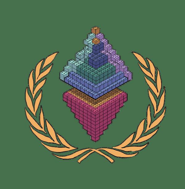 An Ethereum logo made of lego bricks.
