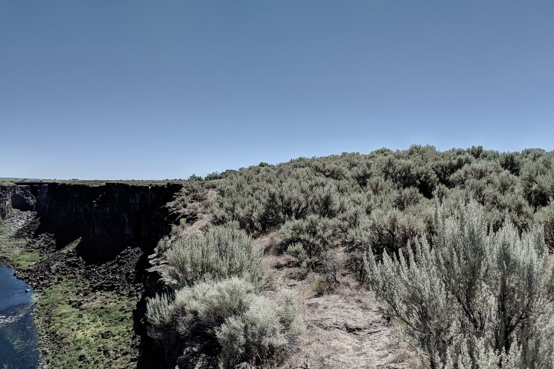 A river cuts a deep, sheer canyon through the basalt underlying otherwise empty desert scrubland. The canyon rim on the right is densely covered in sage.