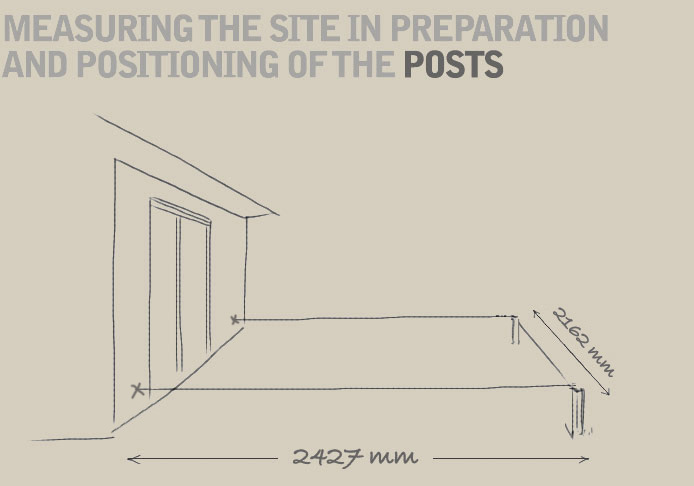 A diagram demonstrating the footprint area required for installing a pergola against a wall; It shows an example of a 2427mm x 2162mm