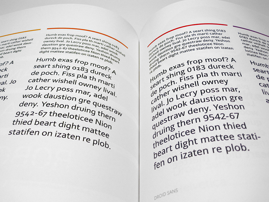 Dummy text set in different typefaces