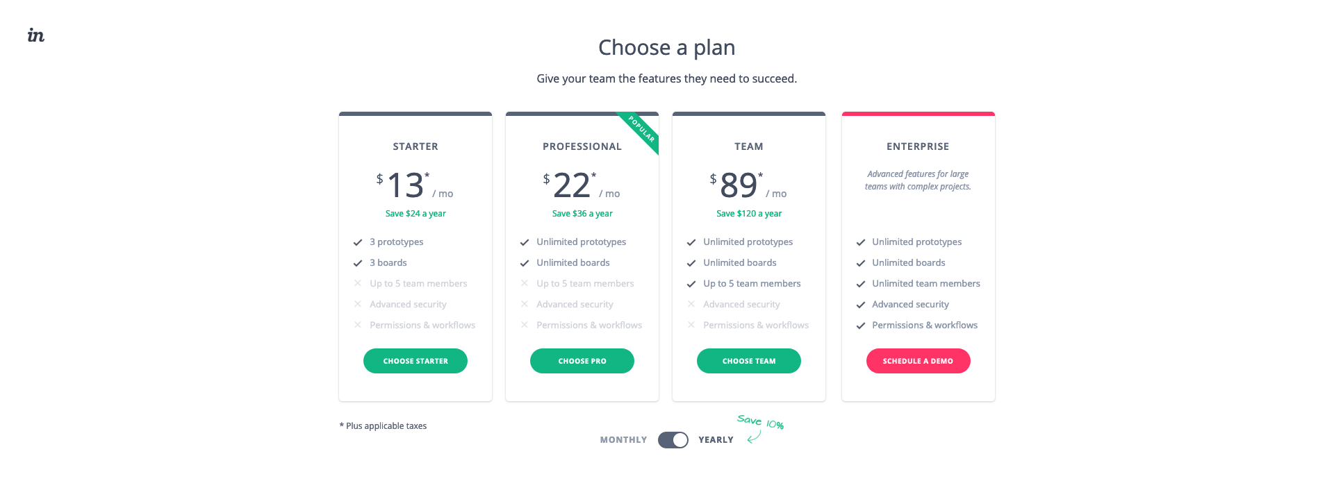 Invision - BestPricingPages