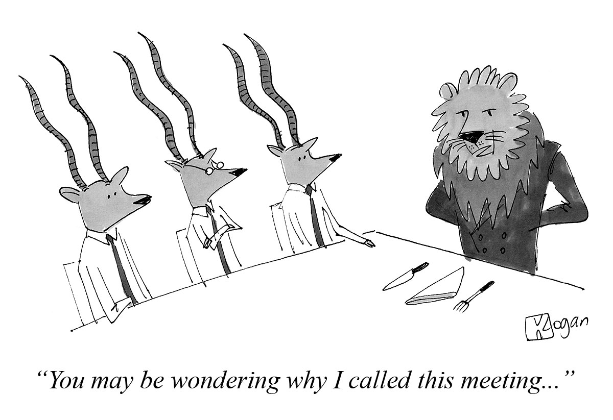 Sample Cartoon of Animals in Business Suits