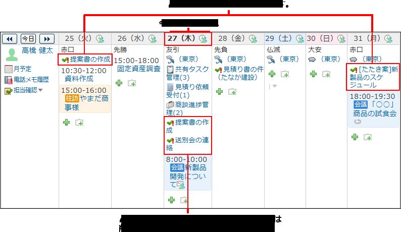 〆切日のあるToDoがスケジュール画面に表示された画像