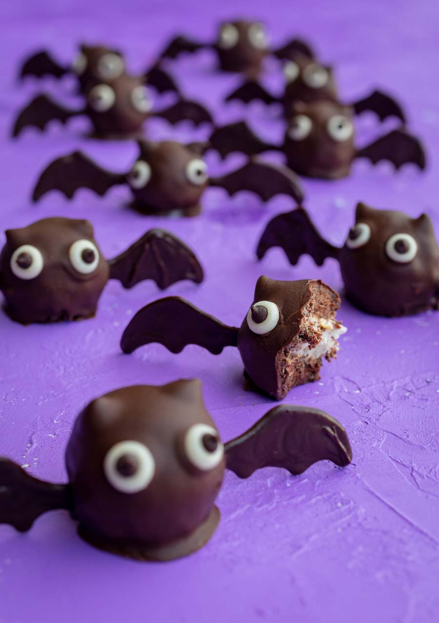 vegan bat truffle with a bite missing